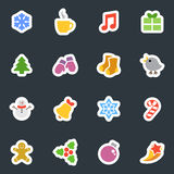 Winter vector flat style stickers icon set on dark Royalty Free Stock Images