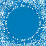 Winter Vector Greeting Card. Winter vector frame with arabesques and snowflakes. Fine greeting blue and white card Stock Image