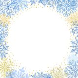 Winter Vector Greeting Card. Winter vector frame with blue and yellow arabesques and snowflakes. Fine greeting card. Pattern with snowflakes Stock Photography