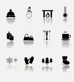 Winter vector icon set. Royalty Free Stock Photo