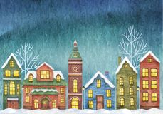 Winter vector illustration with houses on night sky background. royalty free illustration