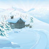 Winter vector landscape Royalty Free Stock Photos