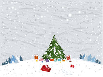 Winter vector landscape with christmas tree Royalty Free Stock Images