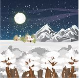 Winter vector landscape. Mountains, houses and forest in the snow. Starry night sky. Big Full Moon Stock Photography
