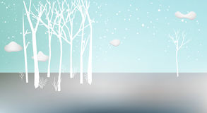 Winter vector landscape. Scenery. Trees in nature, snowing royalty free illustration
