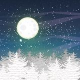 Winter vector landscape with the tops of snow-covered firs and a starry night sky.  Big full moon. Royalty Free Stock Photography