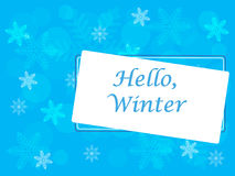 Winter vector picture. An inscription hello winter and snowflakes on a blue background stock illustration