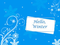 Winter vector picture with snowflakes. Hello winter the text on a white and blue background stock illustration