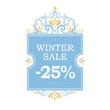 Winter vector sale -25% discount banner. Winter vector sale -25% discount with floral elements. Floral elegant element for template placard design, place for Stock Photos