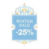 Winter vector sale -25% discount banner. Stock Photos