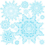 Winter vector set with snowflakes. Royalty Free Stock Photography