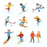Winter vector sport activity people games cartoon boys and girls fun cold sportsmen wintertime happy illustration. Isolated vacation people holiday sport Stock Image