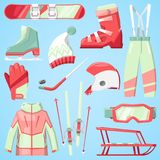 Winter vector sport and clothes icons snow ski, snowboard helmet and board, sledge mountain cold extreme sportsmen Royalty Free Stock Image