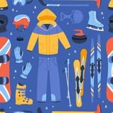 Winter vector sport and clothes icons snow ski, snowboard helmet and board, sledge mountain cold extreme sportsmen Royalty Free Stock Photos