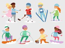 Winter vector sport kids games cute cartoon children fun cold child girl s and boys sportsmen wintertime kid childhood. Happy illustration on white vacation Stock Image