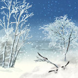 Winter Vector Watercolor Landscape Royalty Free Stock Image