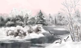 Winter Vector Watercolor Landscape stock illustration