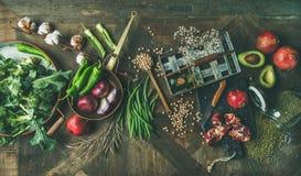 Winter vegetarian or vegan food cooking ingredients, top view Royalty Free Stock Photo
