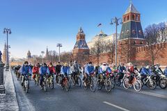 Winter veloparad in Moscow in temperatures of minus 27 degrees of Celsius Royalty Free Stock Photography