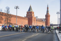 Winter veloparade in Moscow in temperatures of minus 27 degrees of Celsius Royalty Free Stock Image
