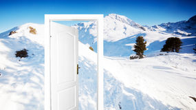 Winter version of door to new world stock photo
