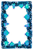 Winter vertical card, frame with blue glossy balls and garland Stock Photography