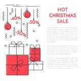Winter vertical Christmas banner Flat line art Royalty Free Stock Photos