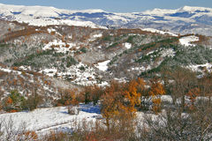 Winter view. High in the mountains, snowy peaks Royalty Free Stock Photos