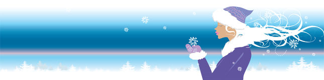 Winter view. Winter banner with girl holding snowflake vector illustration