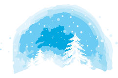 Winter view. Vector illustration of snowy winter landscape stock illustration