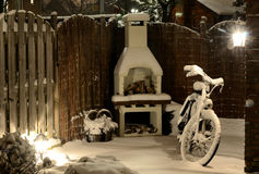 Winter view. Garden under snow, night view Royalty Free Stock Images