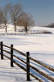 Winter View. Photo of a wooden fence in the winter Stock Photo