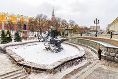 Winter view of the Alexander Garden in Moscow, Russia Royalty Free Stock Photos