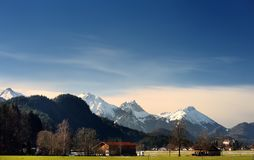 Winter view from the Alps mountain, located near Fussen town royalty free stock photography