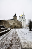 Winter view on ancient orthodox church in Pskov, Russia Stock Image