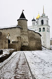 Winter view on ancient orthodox church in Pskov, Russia Royalty Free Stock Images