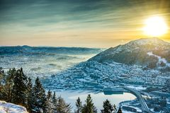 Winter view on Bergen Royalty Free Stock Photos