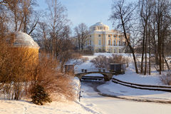 Winter view of the Big palace through park trees Stock Photography