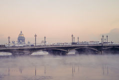 Winter view of the Blagoveschensky bridge, St. Petersburg, Russi. A Stock Image
