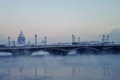 Winter view of the Blagoveschensky bridge. St. Petersburg, Russia Royalty Free Stock Photo