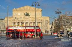 Winter view of the Bolshoi theatre, Moscow, Russia Stock Photography