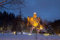 Winter view of Bran castle, also known as Dracula`s castle royalty free stock image