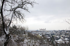 The winter view of Bratislava with castle Stock Photo