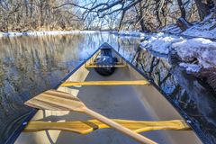 Winter view from a canoe royalty free stock images