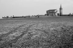 View of church on beach in caorle in winter royalty free stock images