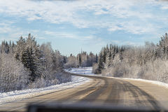 Winter view from the car window Royalty Free Stock Photos