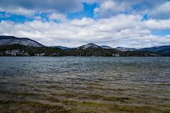 Winter view of the Carvin Cove Reservoir and Bushy Mountain. Wintertime view of the Carvin Cove Reservoir and Bushy Mountain located in Botetourt County stock photography