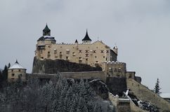 Winter view of the Castle of Hohenwerfen Festung Hohenwerfen. Fortification built in a rock near the village of Werfen in Austria Stock Image