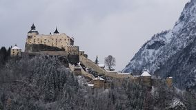 Winter view of the Castle of Hohenwerfen Festung Hohenwerfen. Fortification built in a rock near the village of Werfen in Austria Stock Photo