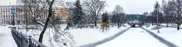 Winter view on central park in Riga, Latvia Stock Image